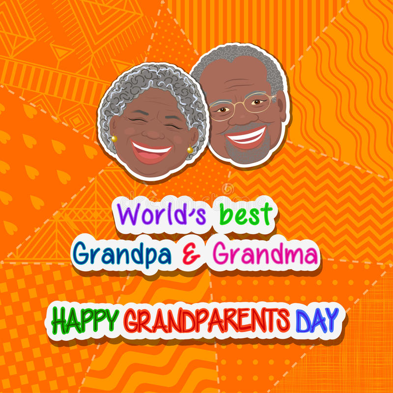 International grandparents day. Greeting and grandmother and grandfather Africans on an orange background patchwork stock illustration