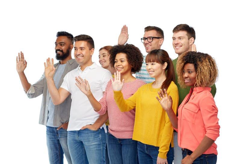 International Group Of Happy People Waving Hand Stock ...