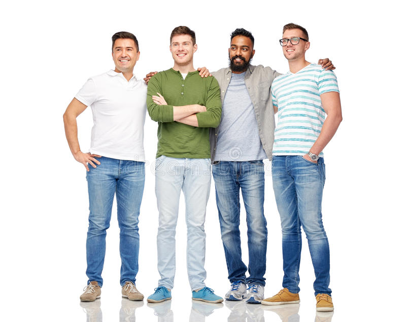 International group of happy smiling men. Friendship, diversity, ethnicity and people concept - international group of happy smiling men over white stock image