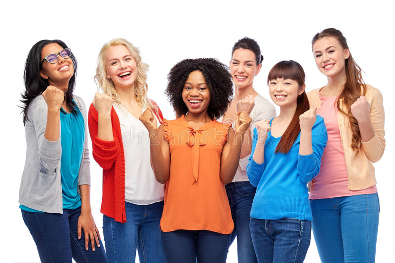 International group of happy smiling women. Diversity, race, ethnicity and people concept - international group of happy smiling different women celebrating stock photo
