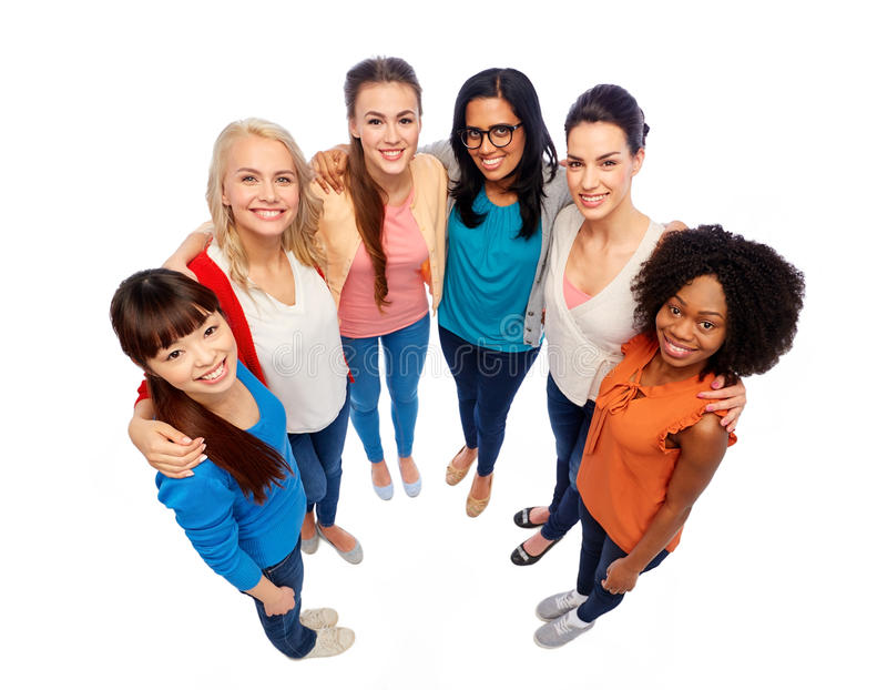 International group of happy smiling women stock photography
