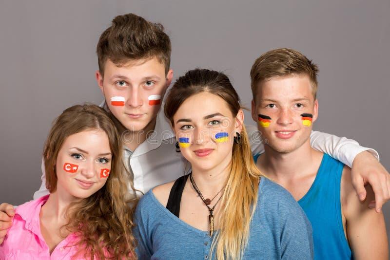 International group of teenagers royalty free stock image