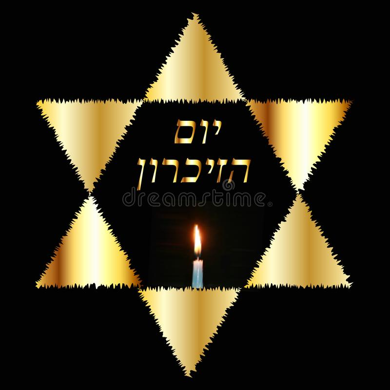 International Holocaust Remembrance Day on 27 January. The Golden Jewish Star. Burning candle. Gold inscription in Hebrew Yom Azikaron in translation Day of stock illustration