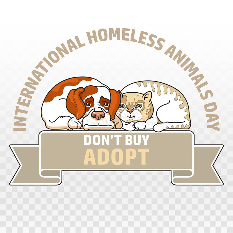 International homeless animals day. Cat and dog. Vector. Vector illustration of International homeless animals day. Cute cat and dog isolated on white. Pets royalty free illustration