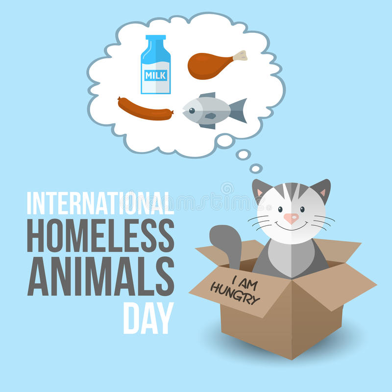 International homeless animals day. cute cartoon kitten in a box Cats rescue, protection, adoption concept. vector illustration