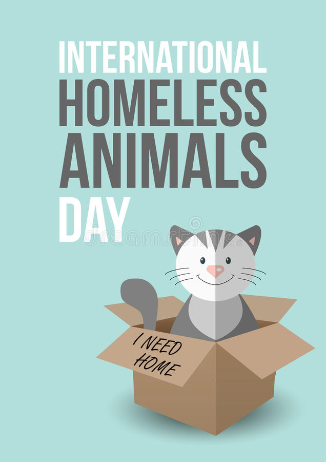 International homeless animals day. Cute cat in a box with I Need Home text. Pets adoption concept. Flyer, poster layout royalty free illustration