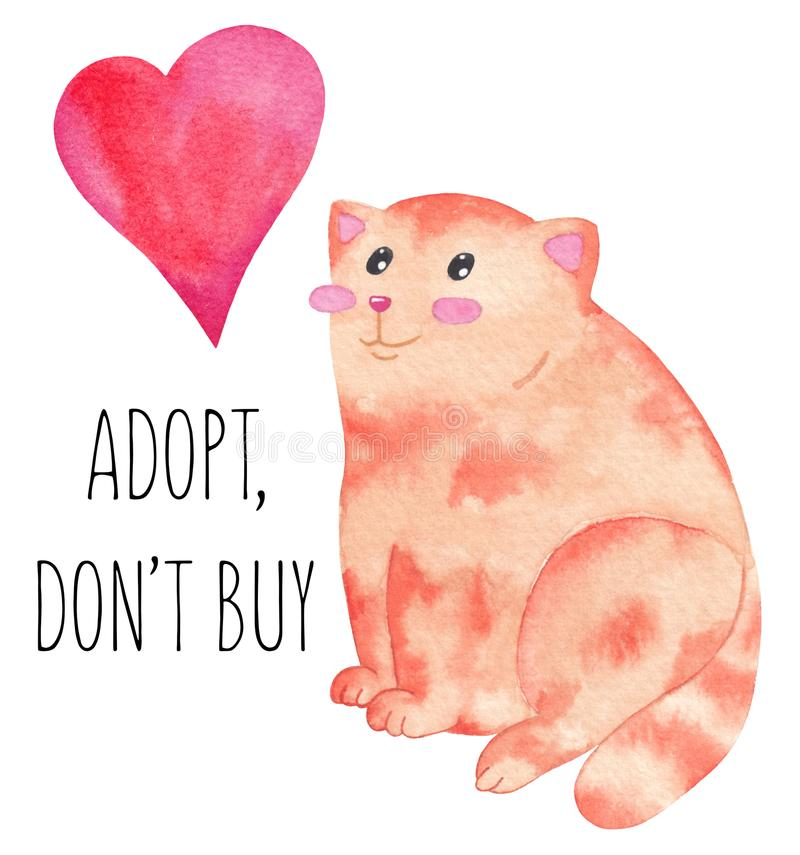 International homeless animals day. Cute ginger cat with red heart. Adopt a pet. Adopt, don`t buy stock illustration