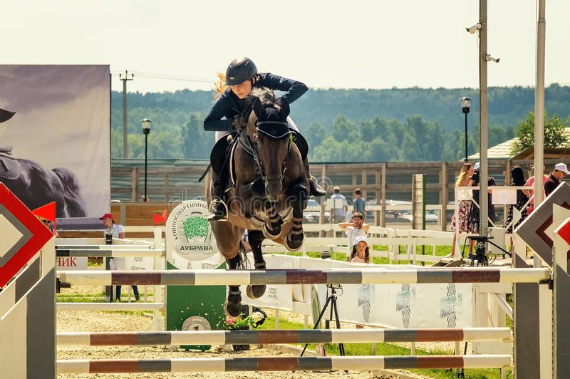 International horse jumping competitions, Russia, Ekaterinburg, 28.07.2018. International horse show jumping competition ` Cup named after the first President of stock photos