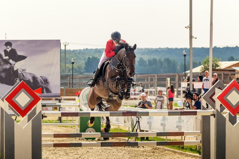 International horse jumping competitions, Russia, Ekaterinburg, 28.07.2018. International horse show jumping competition ` Cup named after the first President of stock photography