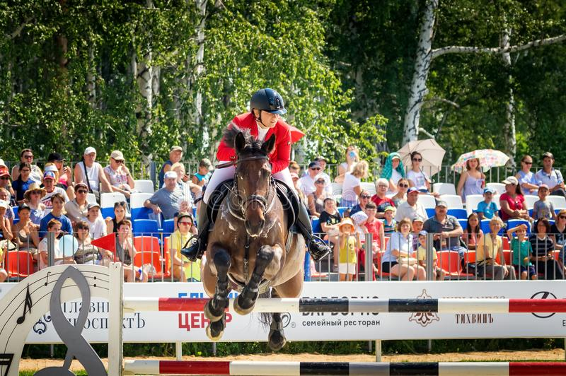 International horse jumping competitions, Russia, Ekaterinburg, 28.07.2018. International horse show jumping competition ` Cup named after the first President of stock photo