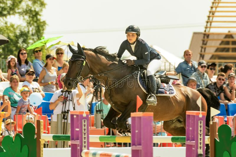 International horse jumping competitions, Russia, Ekaterinburg, 28.07.2018. International horse show jumping competition ` Cup named after the first President of stock images