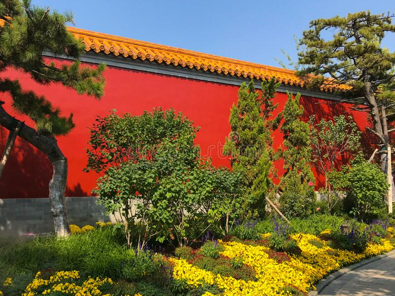 Outside the Chinese imperial palace. International Horticultural Exhibition 2019 Beijing Chinan royalty free stock photography