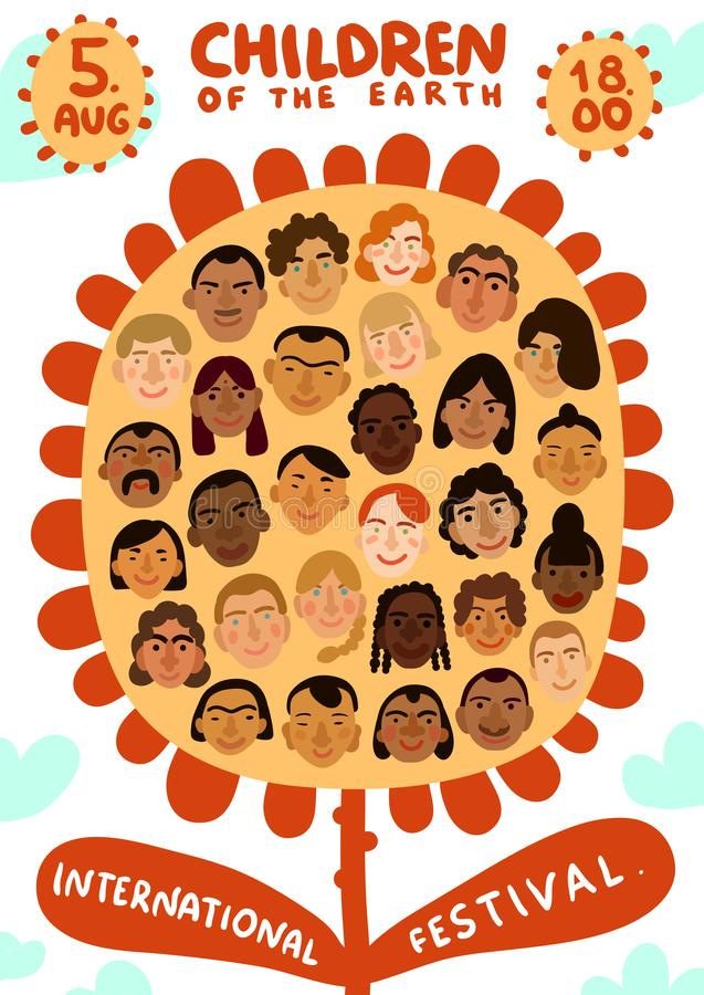International Human Faces Poster stock illustration
