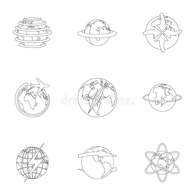 International icons set, outline style royalty free illustration