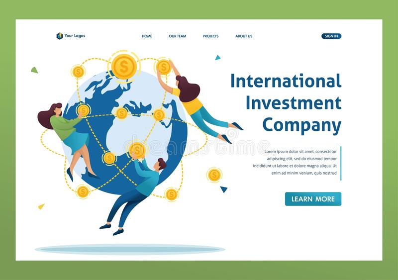 International investment company, businessmen fly around the world. Flat 2D character. Landing page concepts and web design royalty free illustration