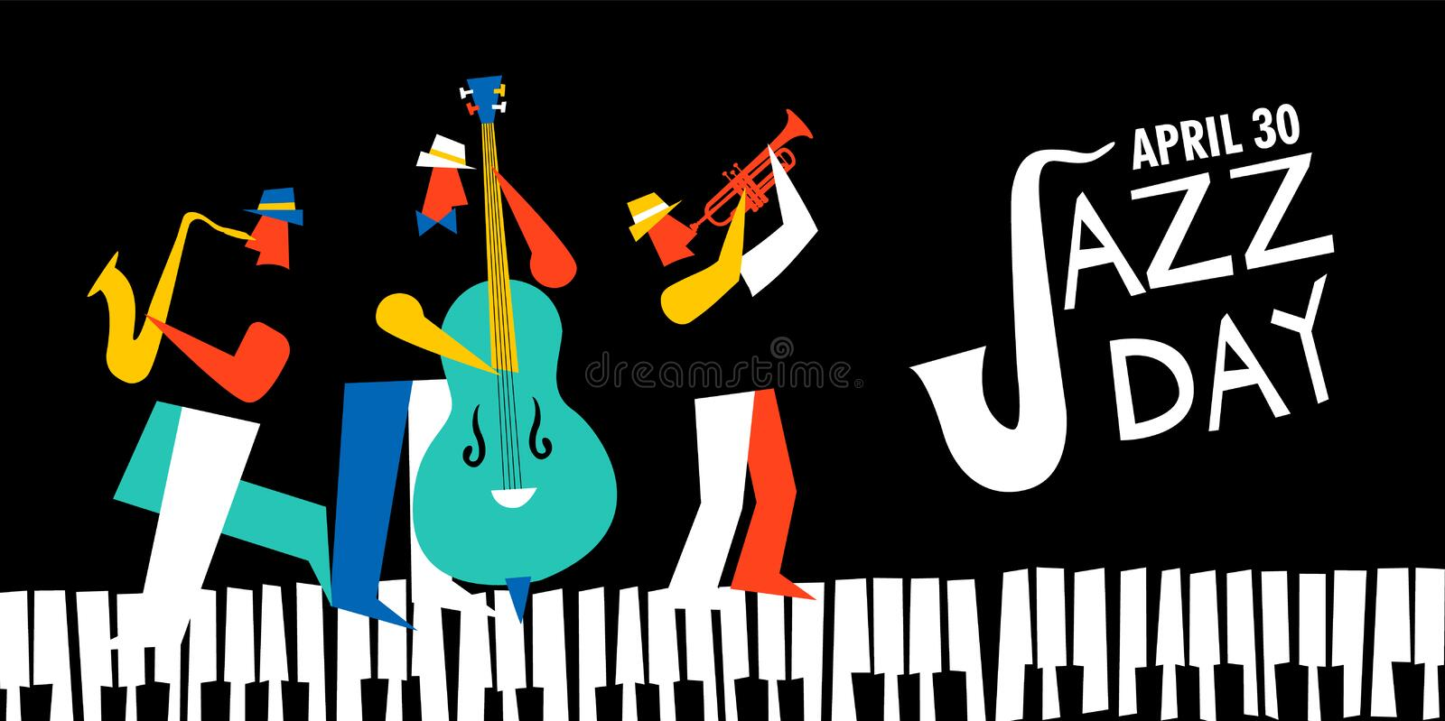 International Jazz day poster of live music band royalty free illustration
