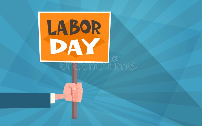 International Labor Day Poster In Vintage Style Greeting Card With Hand Holding Banner royalty free illustration