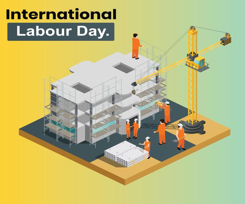 International Labour Day Where the Construction is been Done isometric artwork concept. Isometric artwork concept of labor day, where all the people are working royalty free illustration