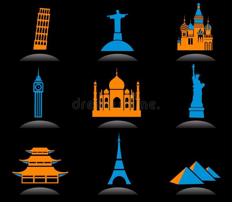 International Landmark Icons - 2 Royalty Free Stock Image