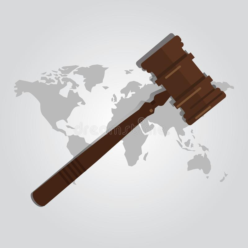 International law arbitration prosecution. Jurisdiction country world map wooden hammer gavel justice legal authority case verdict law suit vector stock illustration