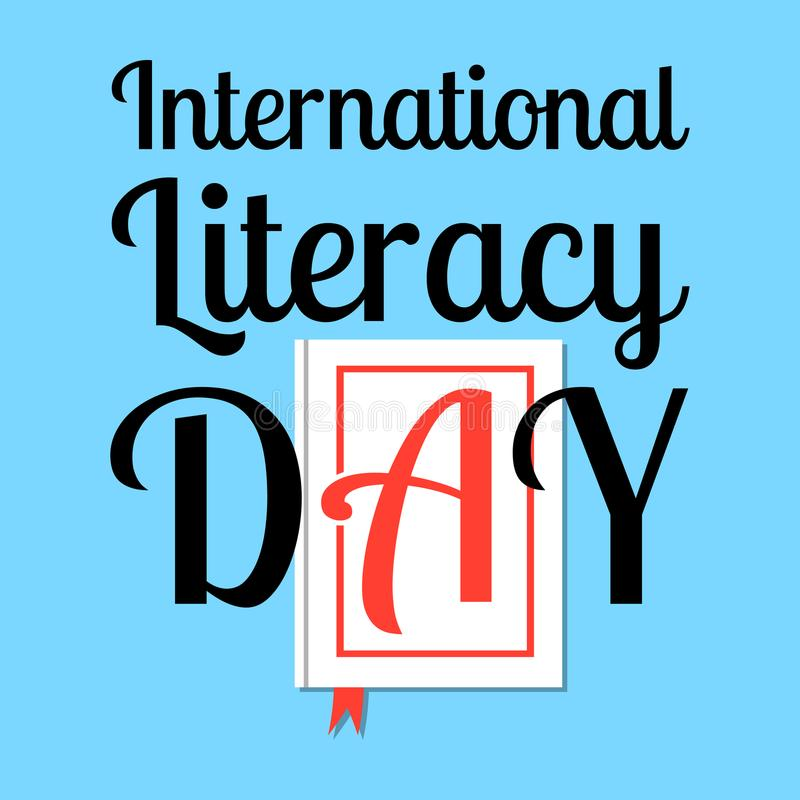 International Literacy Day. Event name. Book with the letter A on the cover stock illustration