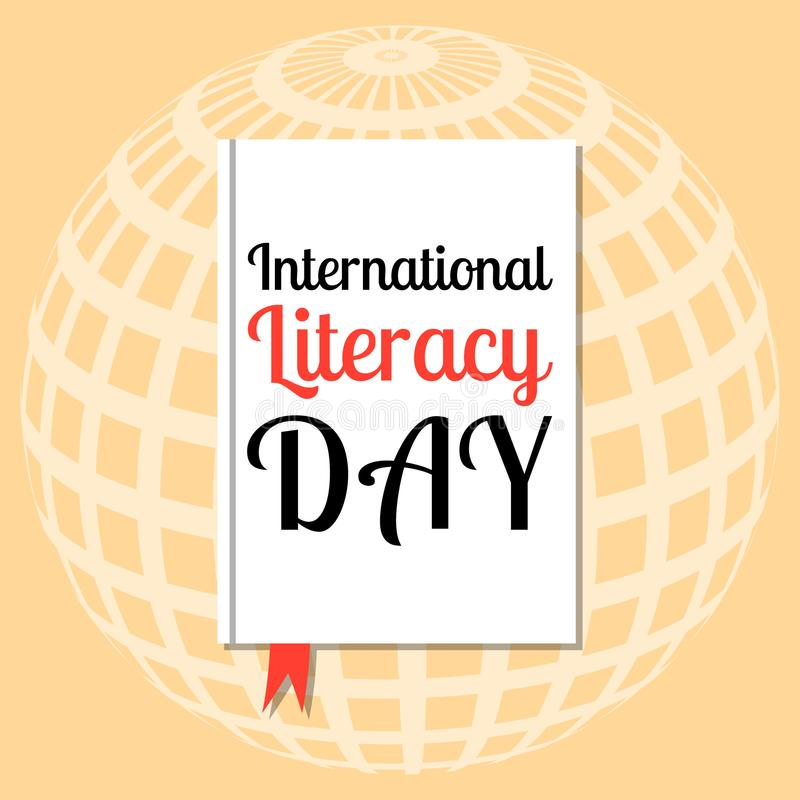 International Literacy Day. Event name on the cover book stock illustration