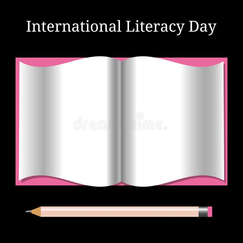 International Literacy Day. Open book and pencil vector illustration