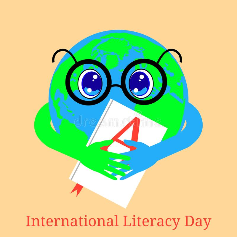 International Literacy Day. Planet Earth holds a book with the letter A on the cover stock illustration