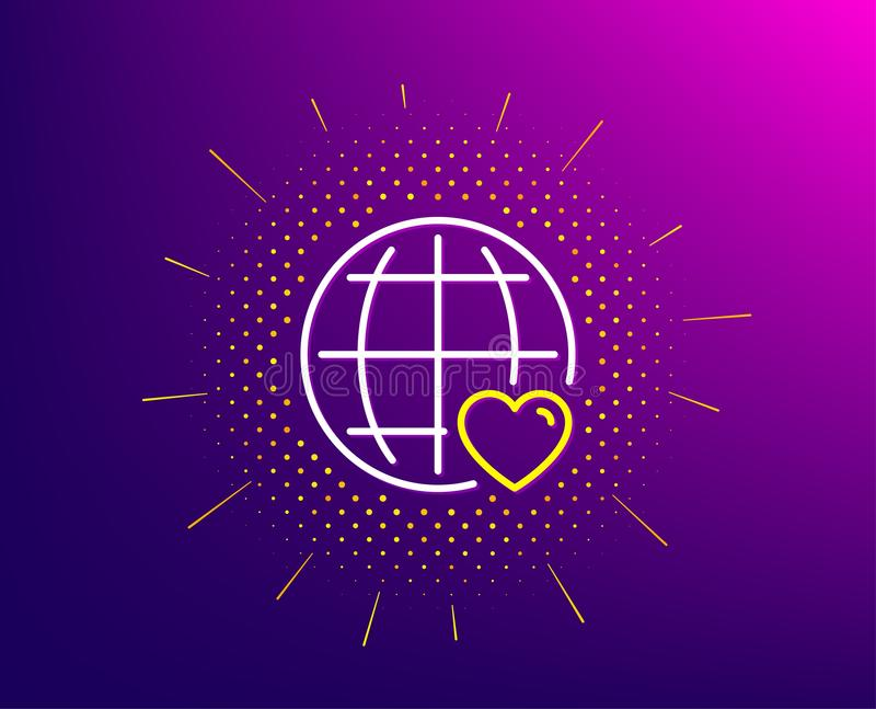 International Love line icon. Heart symbol. Vector royalty free illustration