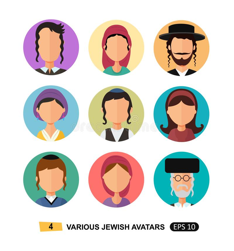 Jewish people icon avatars flat cartoon concept vector isolated on white eps 10 royalty free illustration