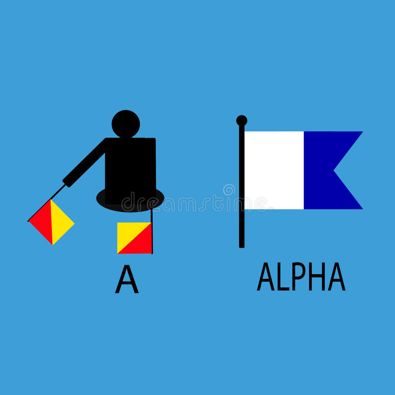 International marine signal flag, sea alphabet , vector illustration, semaphore, communication, alpha. royalty free stock photo