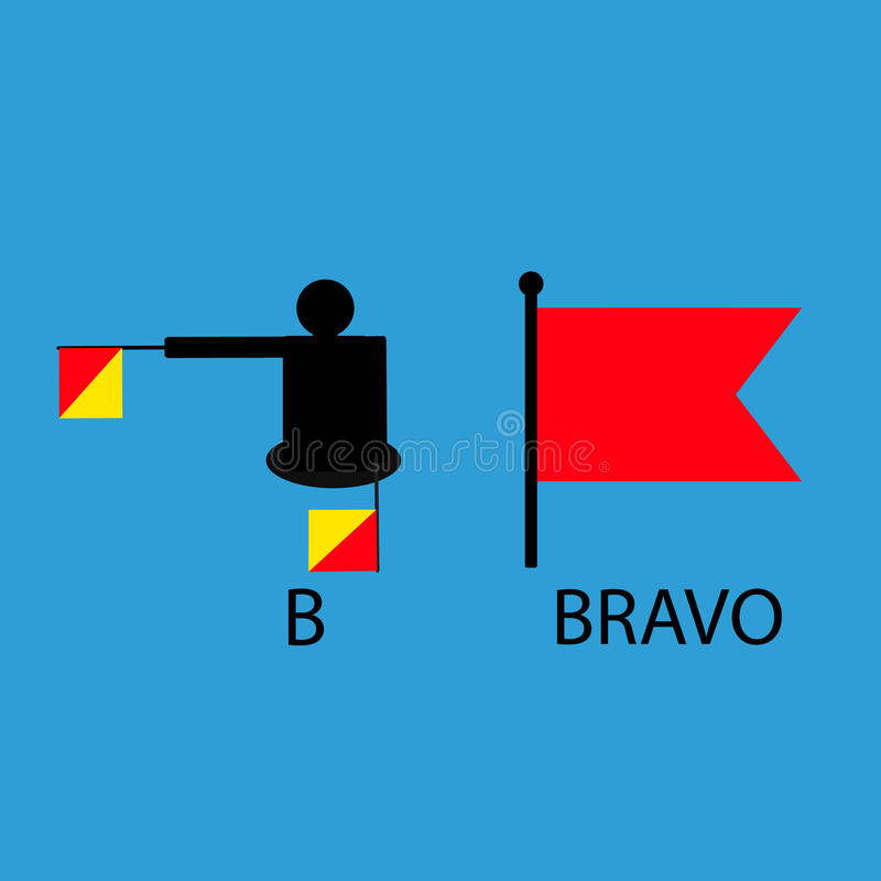 International marine signal flag, sea alphabet , vector illustration, semaphore, communication, bravo. royalty free stock photos
