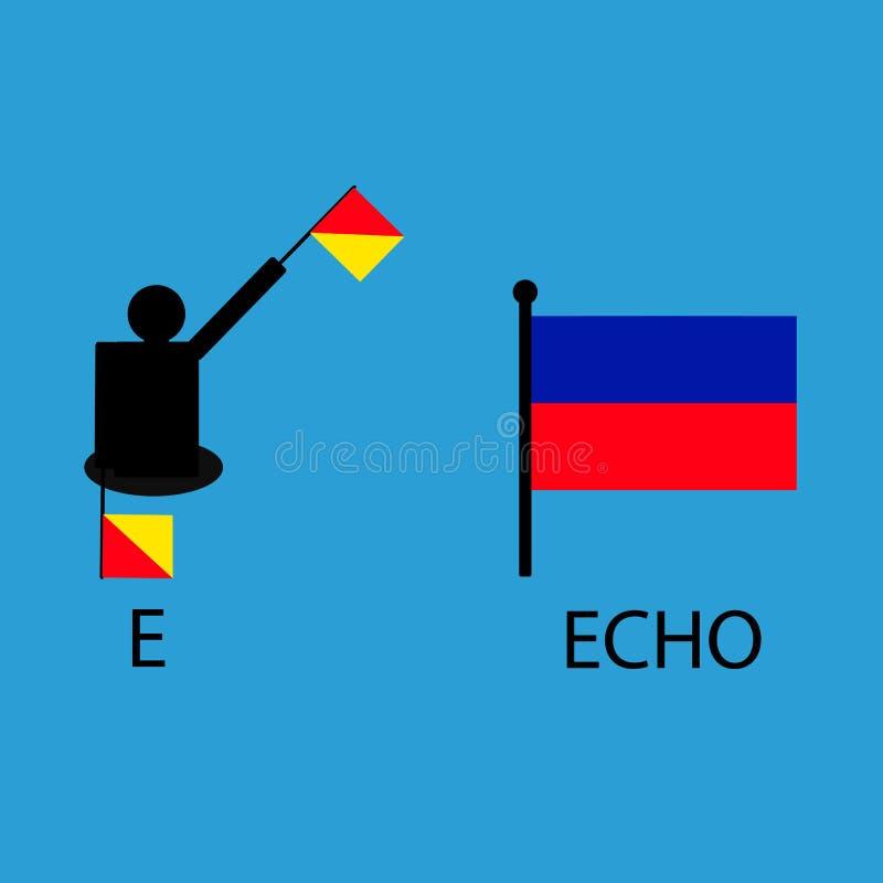 International marine signal flag, sea alphabet , vector illustration, semaphore, communication, echo. royalty free illustration