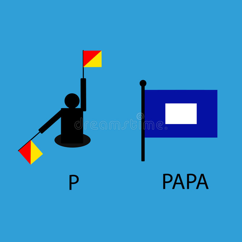 International marine signal flag, sea alphabet , vector illustration, semaphore, communication, papa. stock images