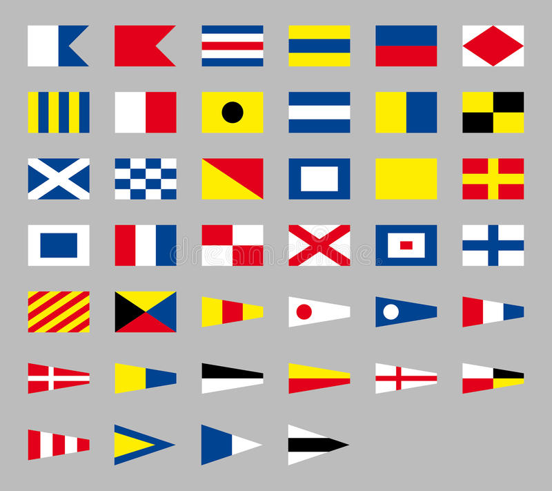 International maritime signal nautical flags, isolated on gray background vector illustration