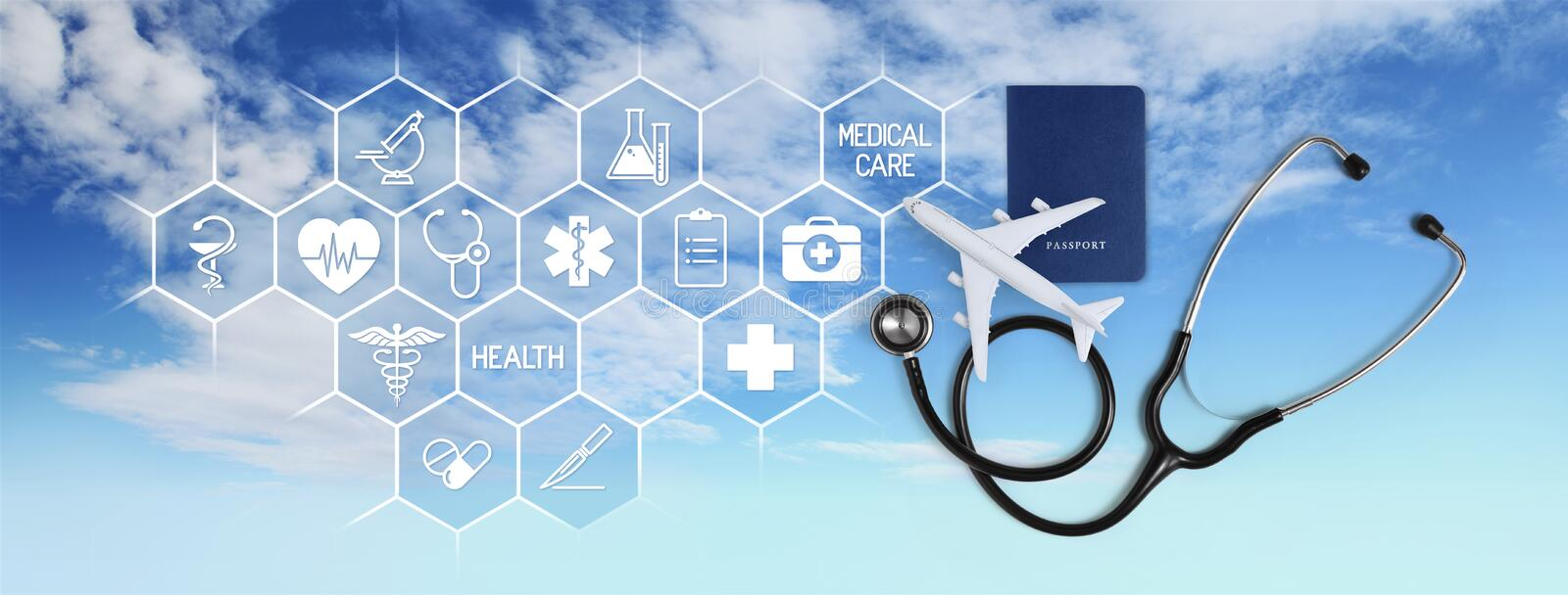 International medical travel insurance concept, stethoscope, passport and airplane, with icons and symbols isolated. On sky background stock photography