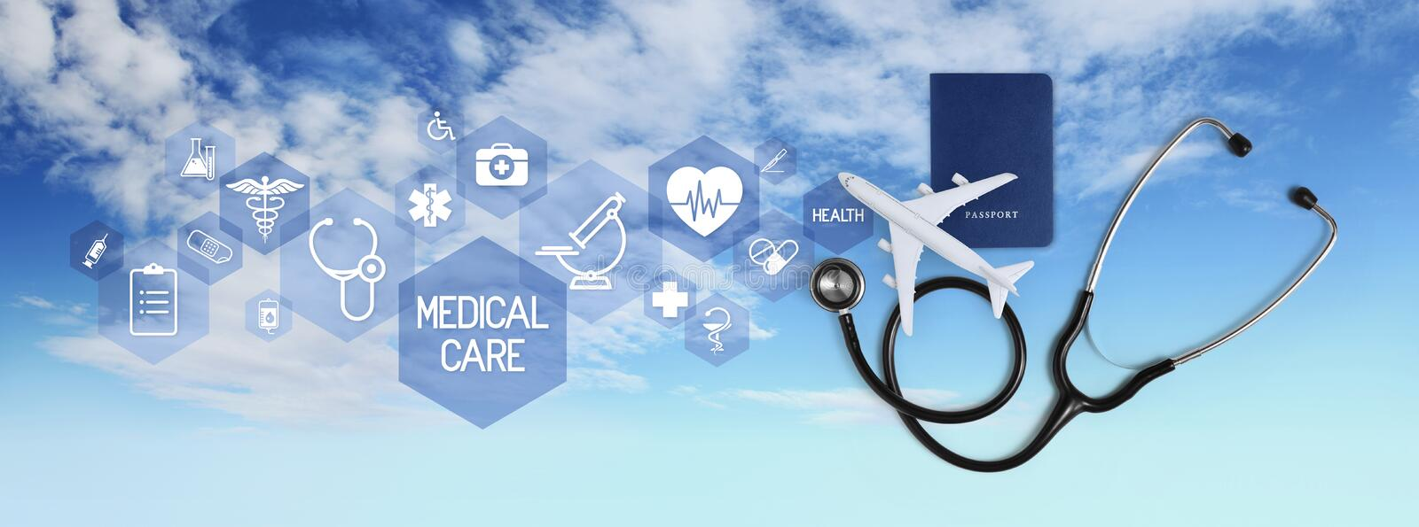 International medical travel insurance concept, stethoscope, passport and airplane, with icons and symbols isolated on white. Background stock image