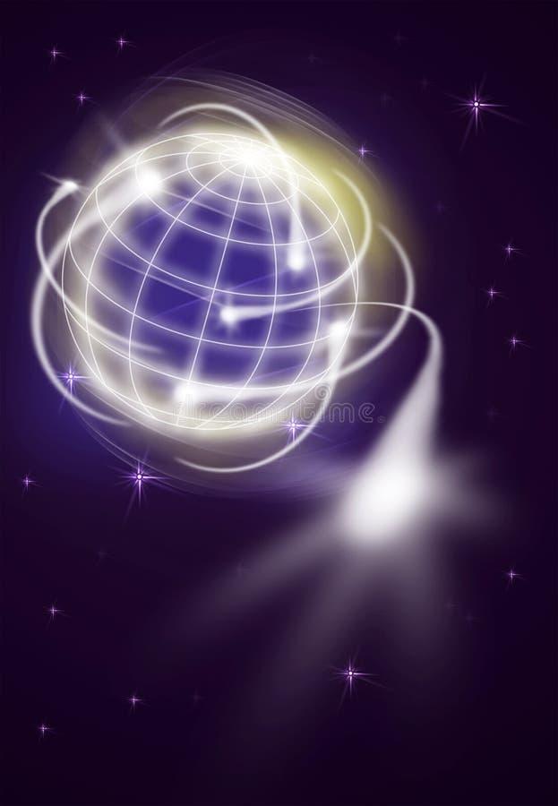 International movements. World with international exportation as shooting stars royalty free illustration