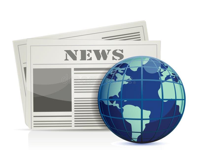 International news. Illustration design over white stock illustration