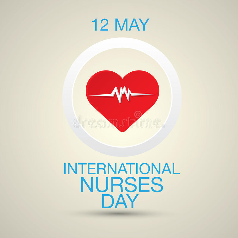 International nurse day concept with heart. International nurse day concept with illustration of heart with heartbeat royalty free illustration