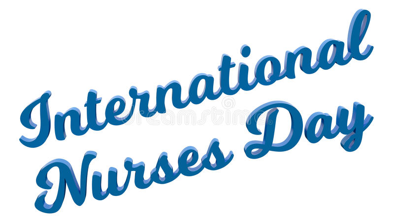 International Nurses Day Calligraphic 3D Rendered Text Illustration Colored With Light Blue. On White Background stock illustration