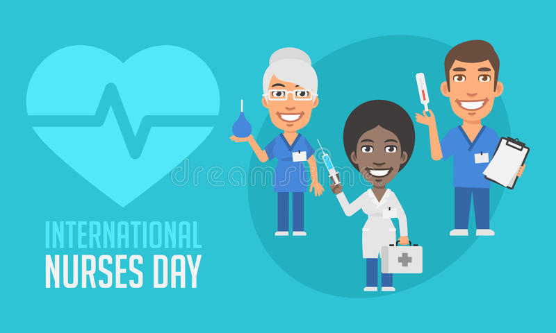 International Nurses Day Group People Holding Different Objects. Vector Illustration. Mascot Character vector illustration