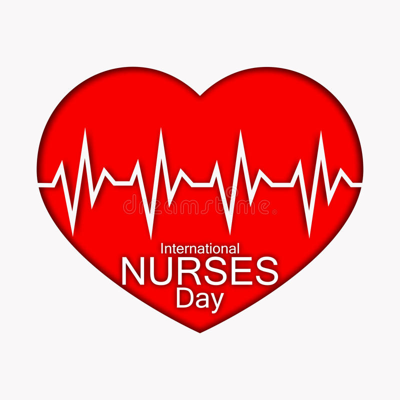 International nurses day illustration with red heart and heartbeat. Card or design for doctors, nurses and medicine. International nurses day illustration with vector illustration