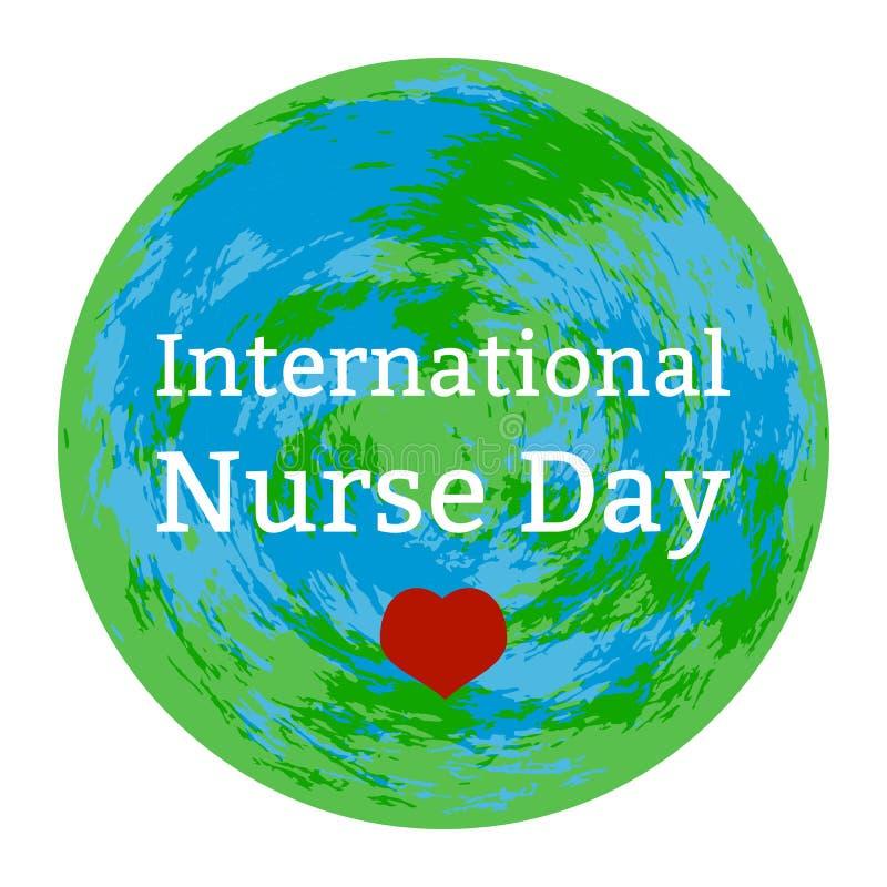 International Nurses Day. White background, heart, Earth. International Nurses Day 12 May. Concept of medical holiday. White background, heart, Earth, event name stock illustration