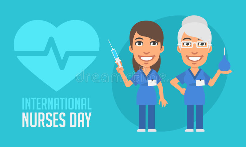 International Nurses Day Old and Young Nurse. Vector Illustration. Mascot Character stock illustration