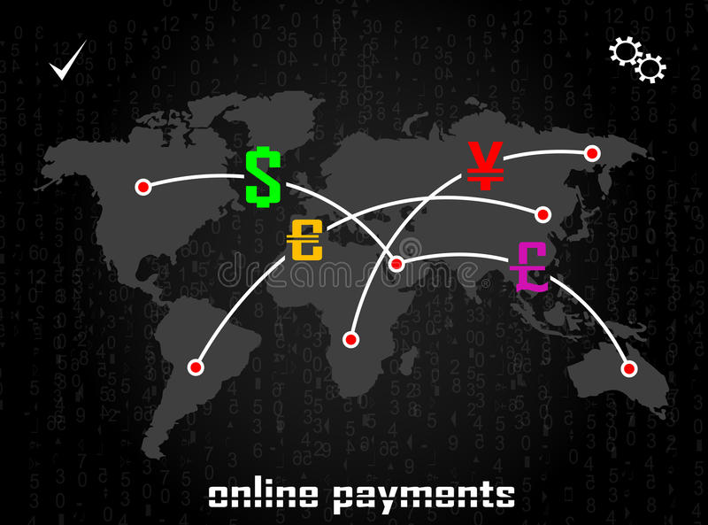 International online payments. The concept of online payments, business traffic monetary system, transactions, online payments, transfer banking. Vector royalty free illustration