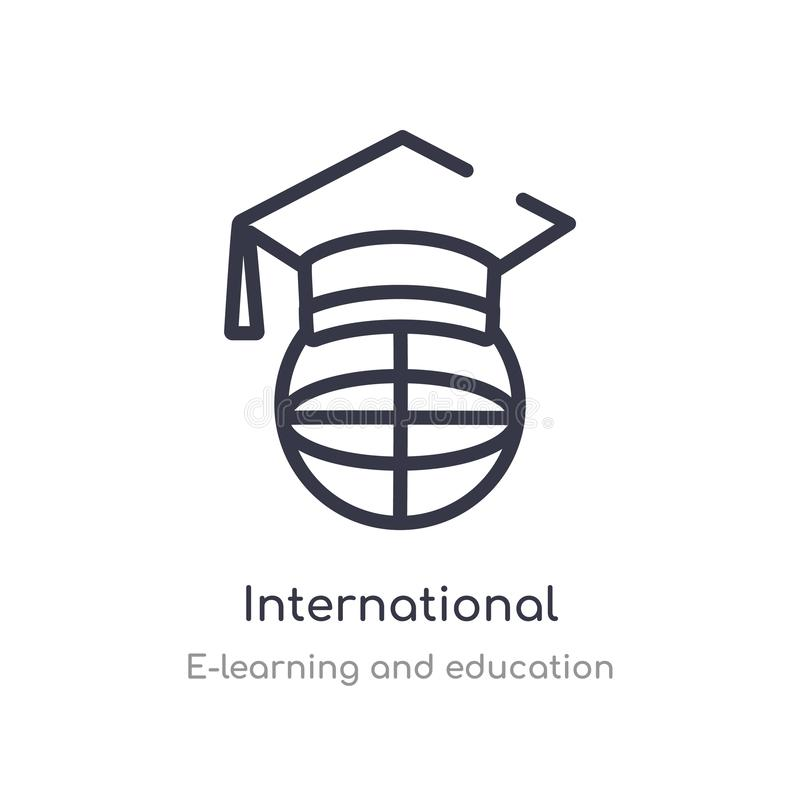 international outline icon. isolated line vector illustration from e-learning and education collection. editable thin stroke stock illustration
