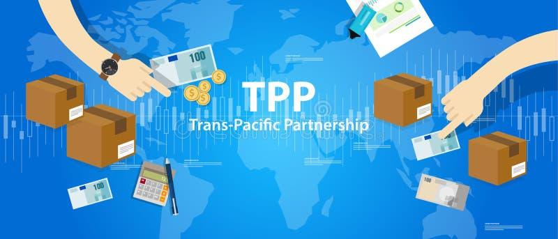International Pacifique du commerce du marché gratuit d'accord d'association de transport de TPP illustration libre de droits
