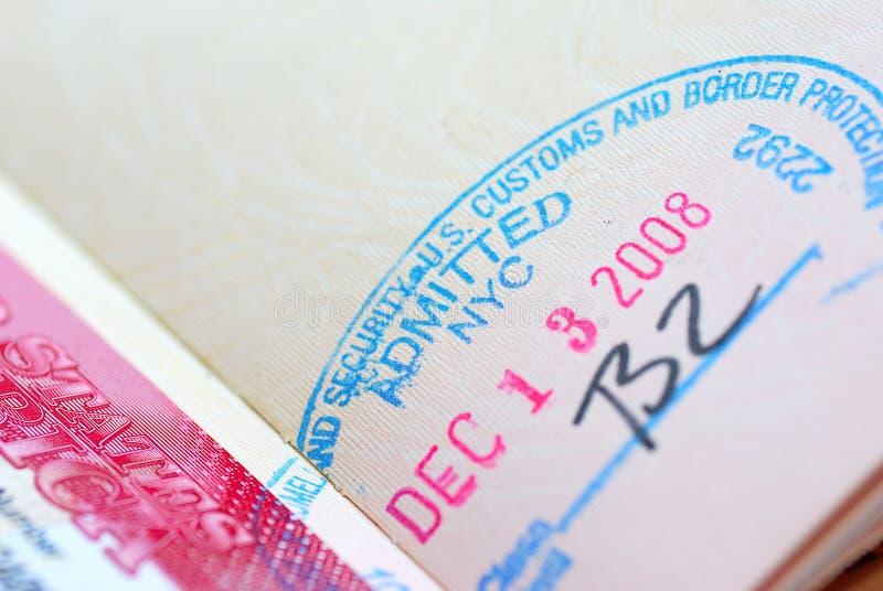 International Passport Series 08. USA Immigration Stamp on International Passport royalty free stock photos