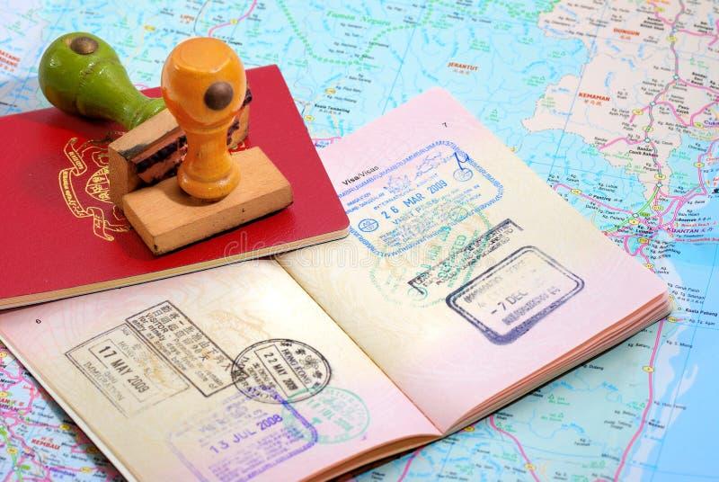 International Passport Series 09. International Travel Passport on Map royalty free stock photo